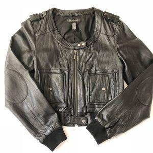 I.N.C. Misses Black Leather Collarless Crop Jacket